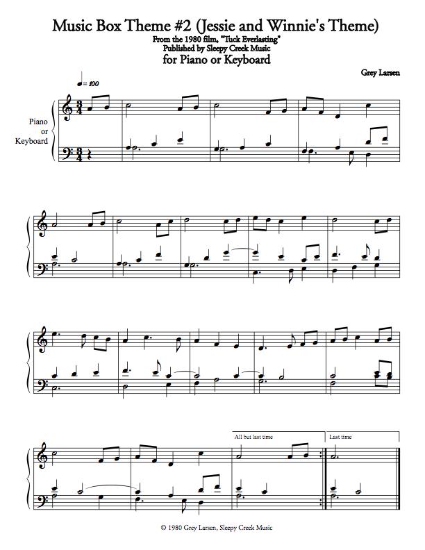Piano piano trio sheet music : Tuck Everlasting Music Box Theme #2, Sheet Music for Piano ...